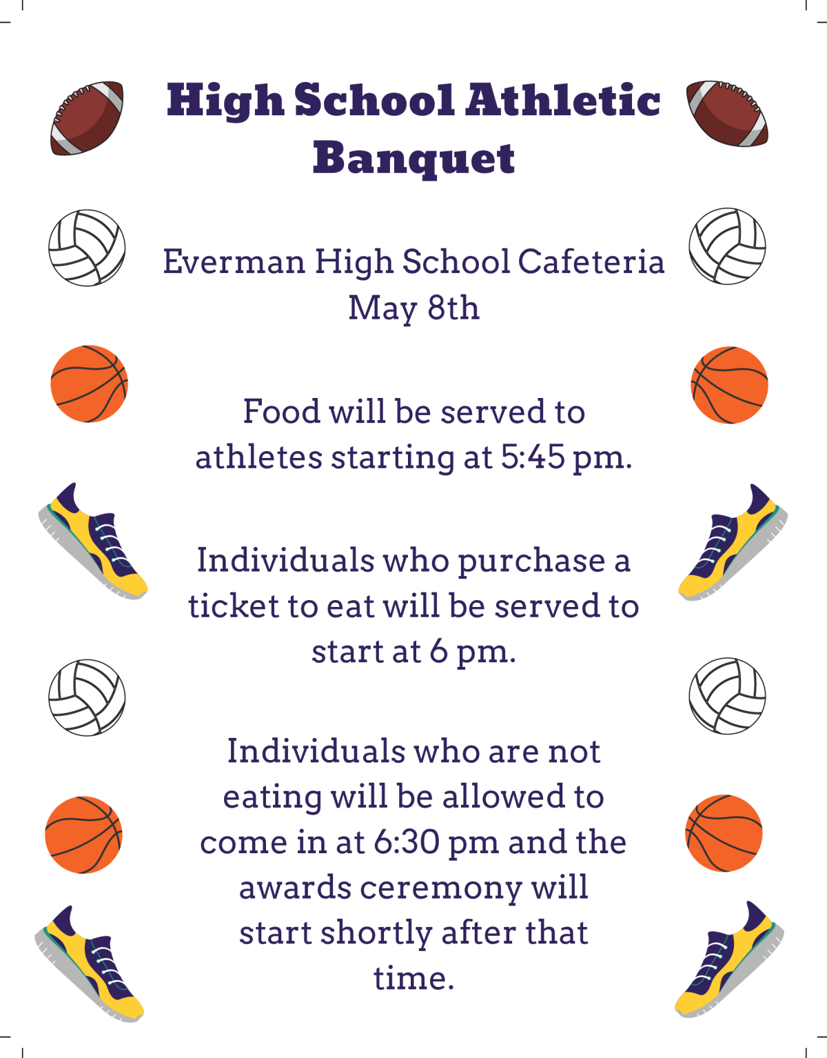Image of a flyer titled High School Athletic Banquet