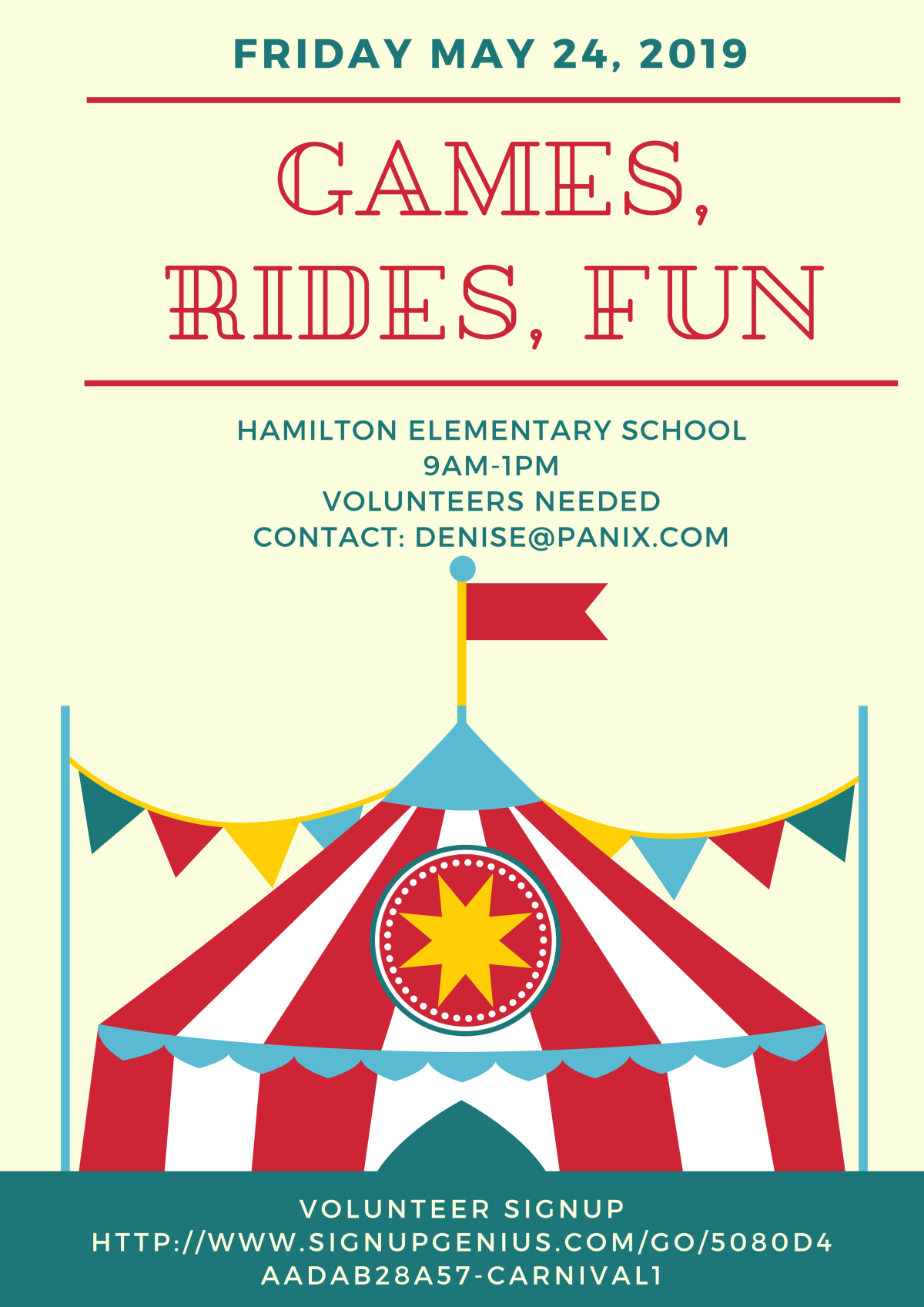 Image of a flyer titled HAMILTON ELEMENTARY SCHOOL CARNIVAL