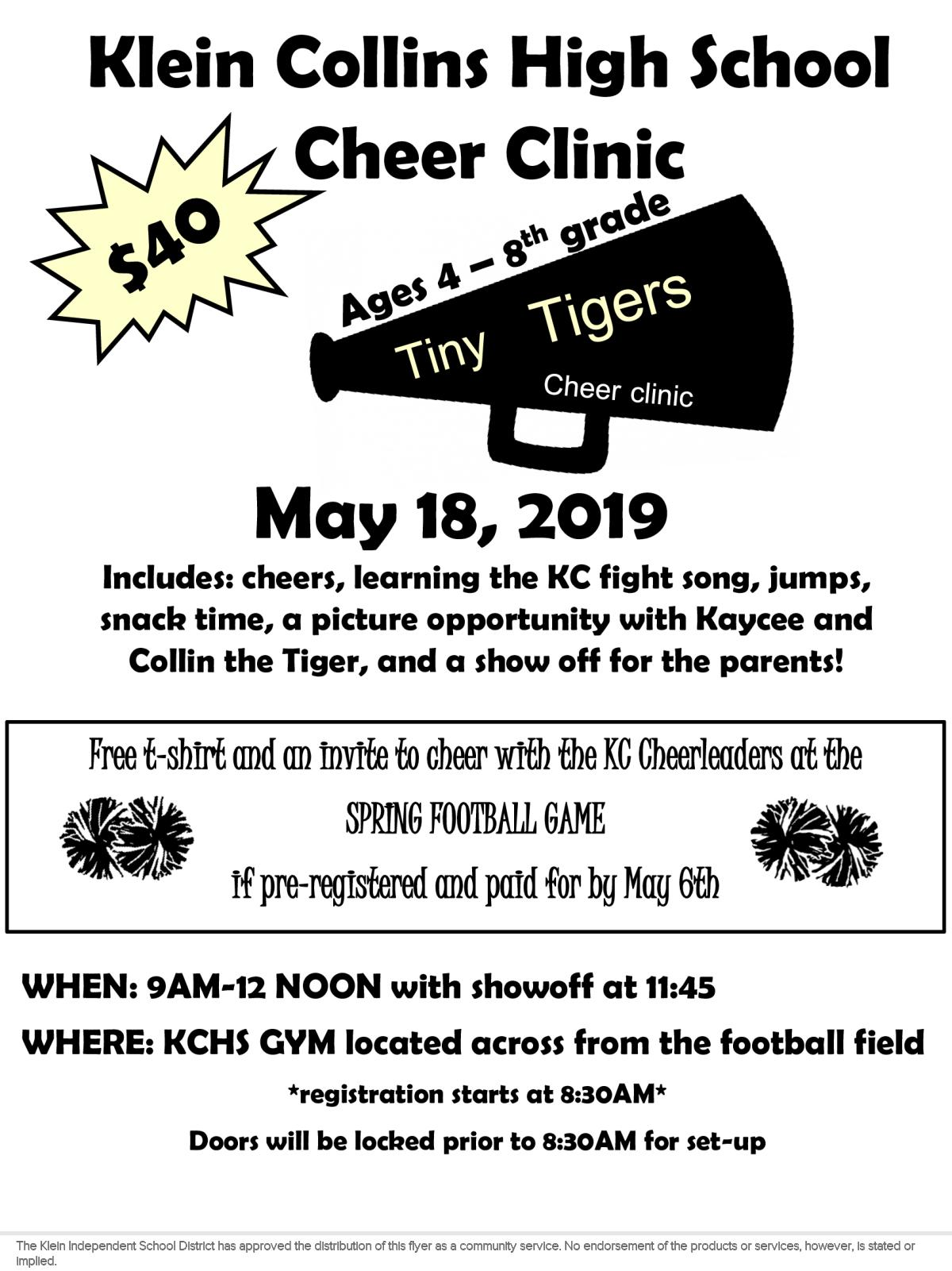 a0496cf2 Image of a flyer titled Tiny Tigers Cheer Camp Text ...