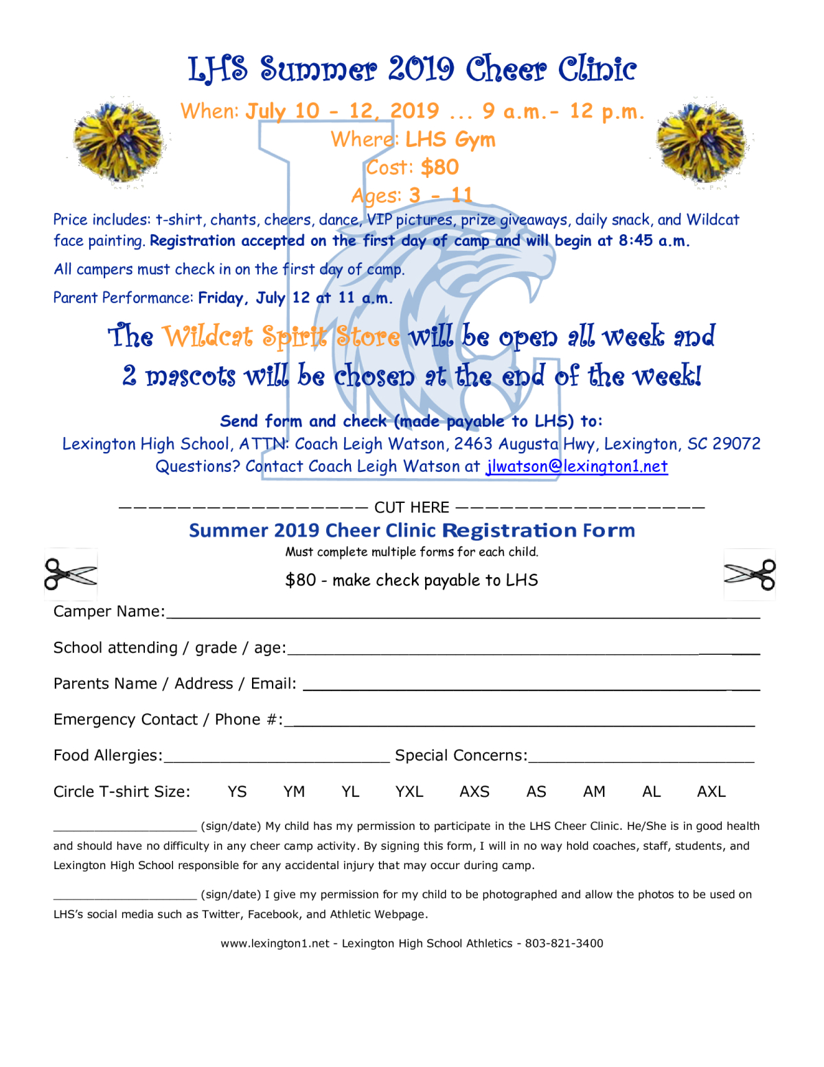 5667325b364 Image of a flyer titled LHS Summer 2019 Cheer Clinic