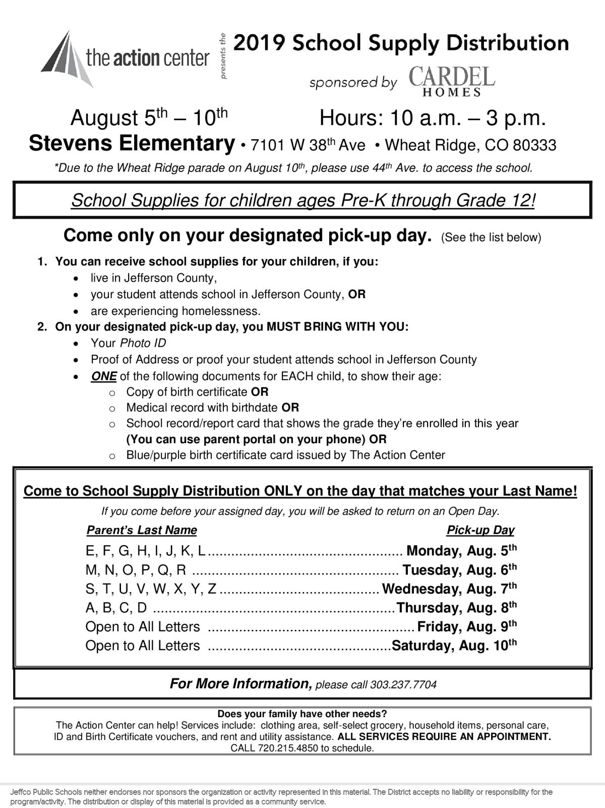 Image of a flyer titled The Action Center's School Supply Distribution