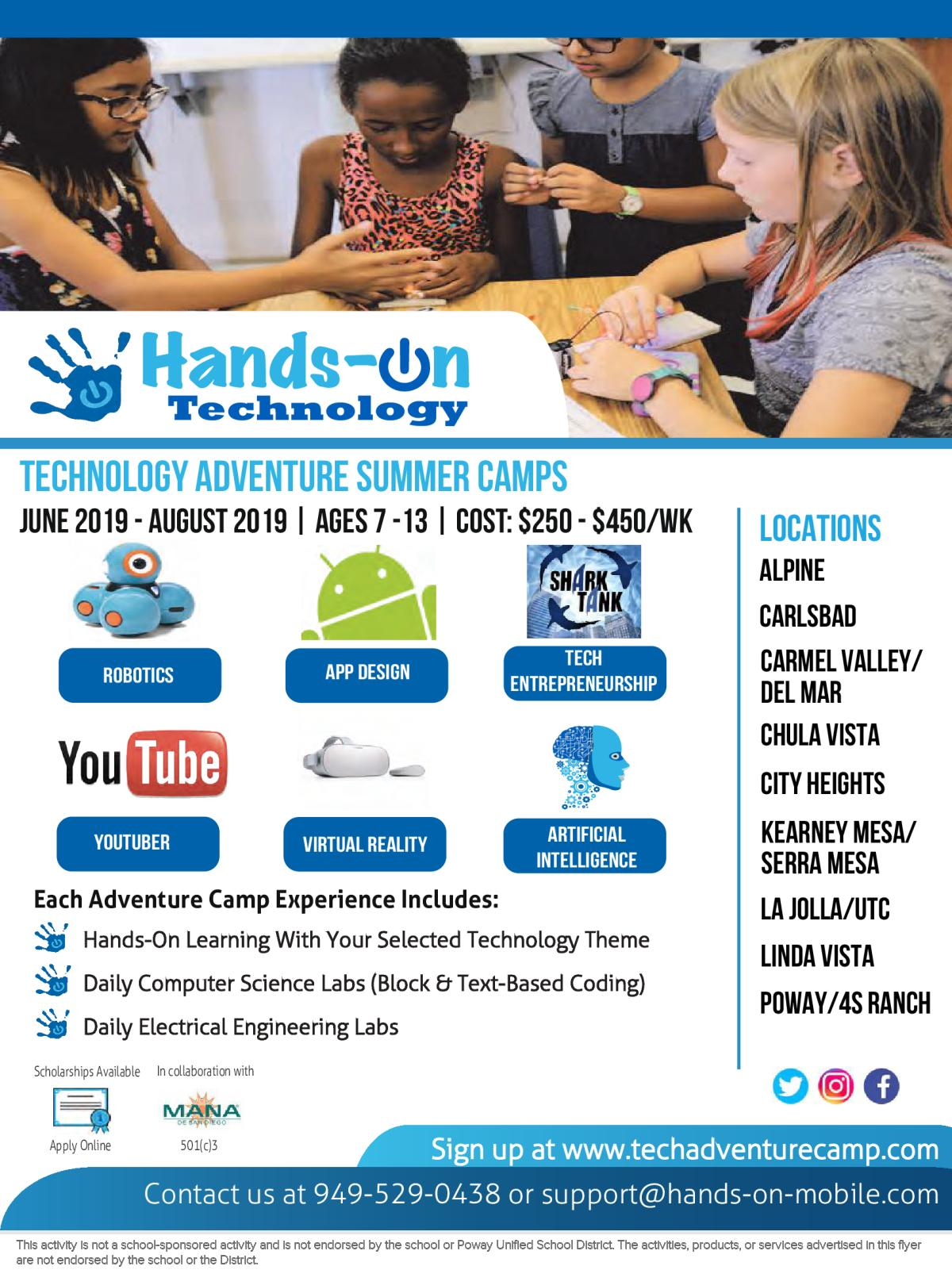 646cd599a14 Image of a flyer titled Technology Adventure Camp: 4S Ranch / Poway Unified