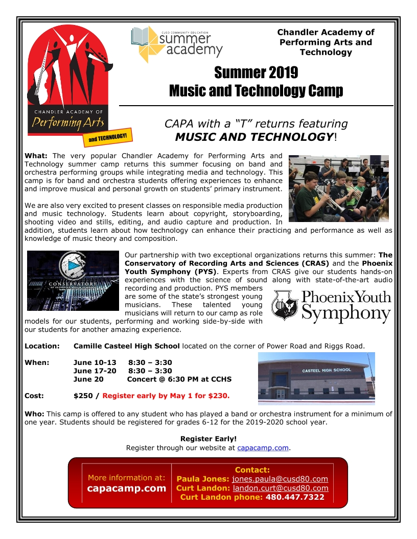d233cd99f502 Image of a flyer titled Summer Music & Technology Camp
