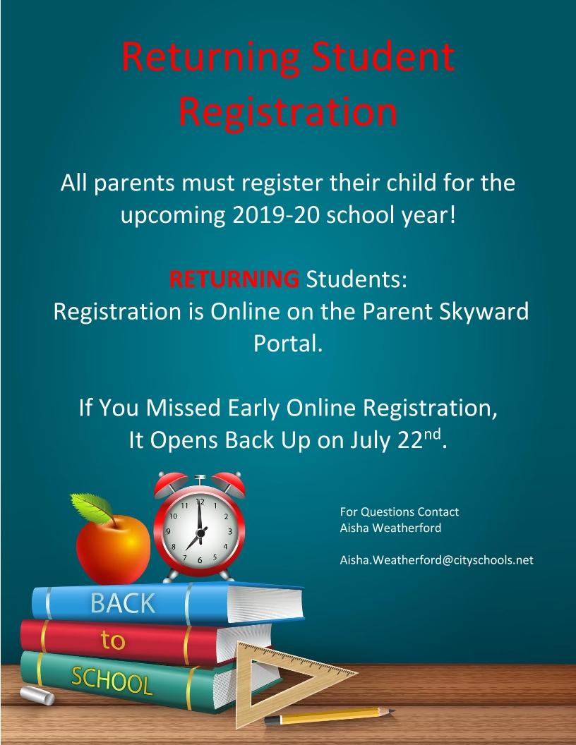 Image of a flyer titled Online Registration