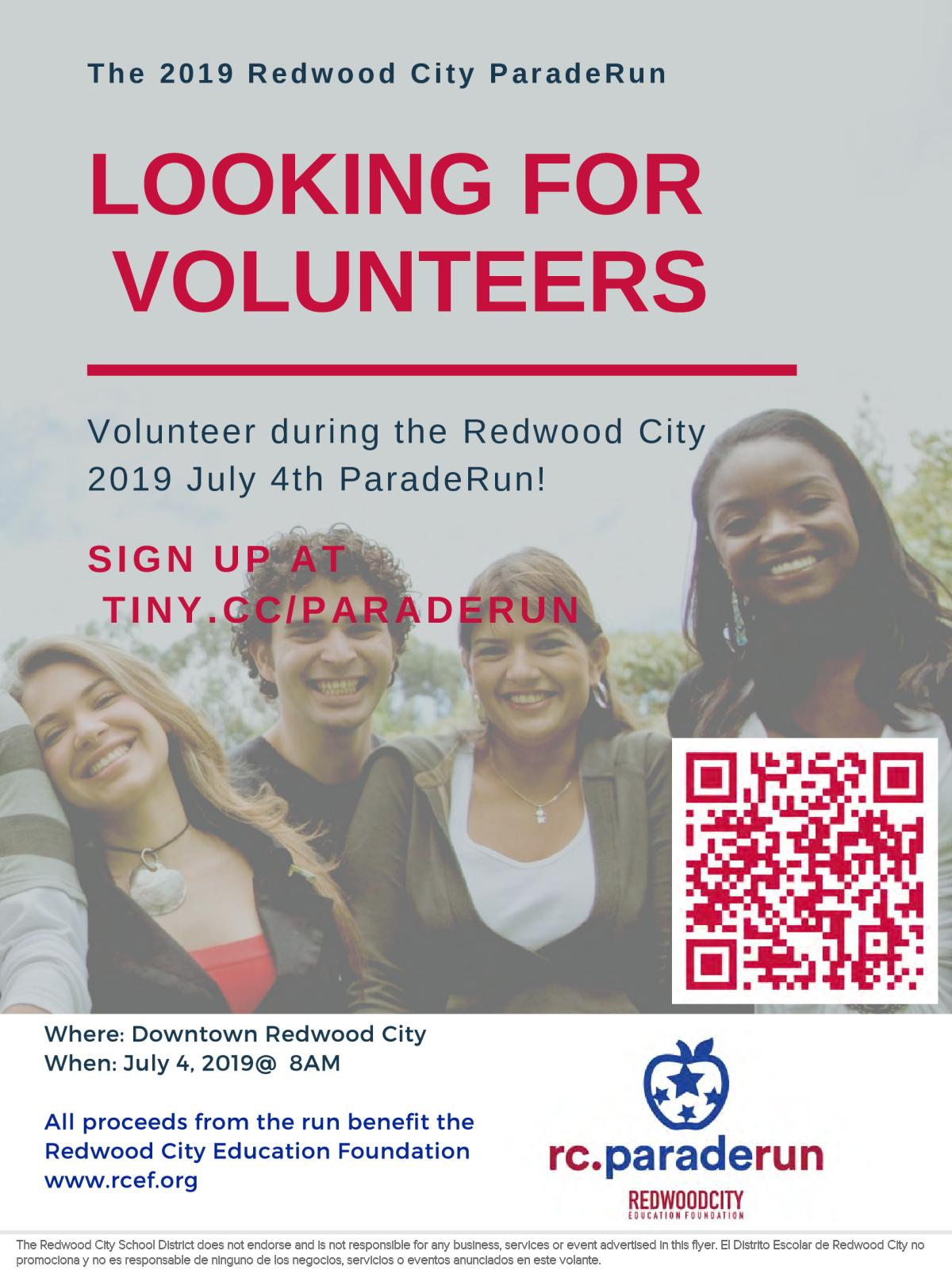 9fc60d0fe Image of a flyer titled RWC ParadeRun Family Volunteer Opportunities