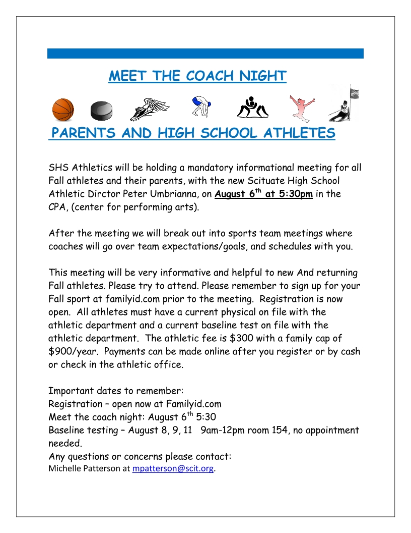 Image of a flyer titled MEET THE COACH NIGHT FALL 2019