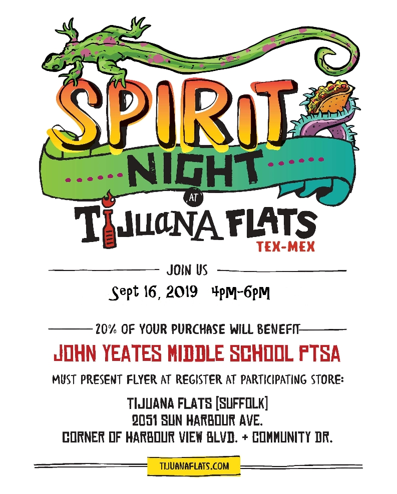 Image of a flyer titled Spirit Night