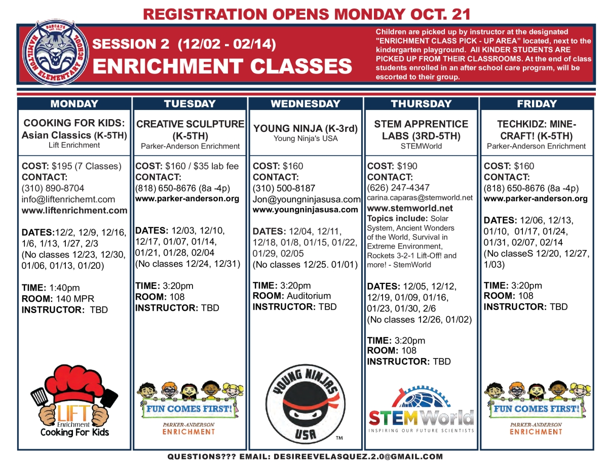 Image of a flyer titled Hamilton Elementary Enrichment Classes