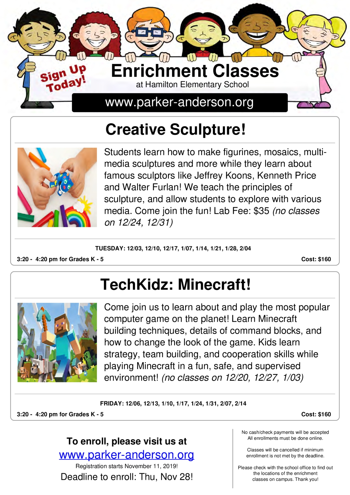 Image of a flyer titled Hamilton Elementary Sculpture and Minecraft
