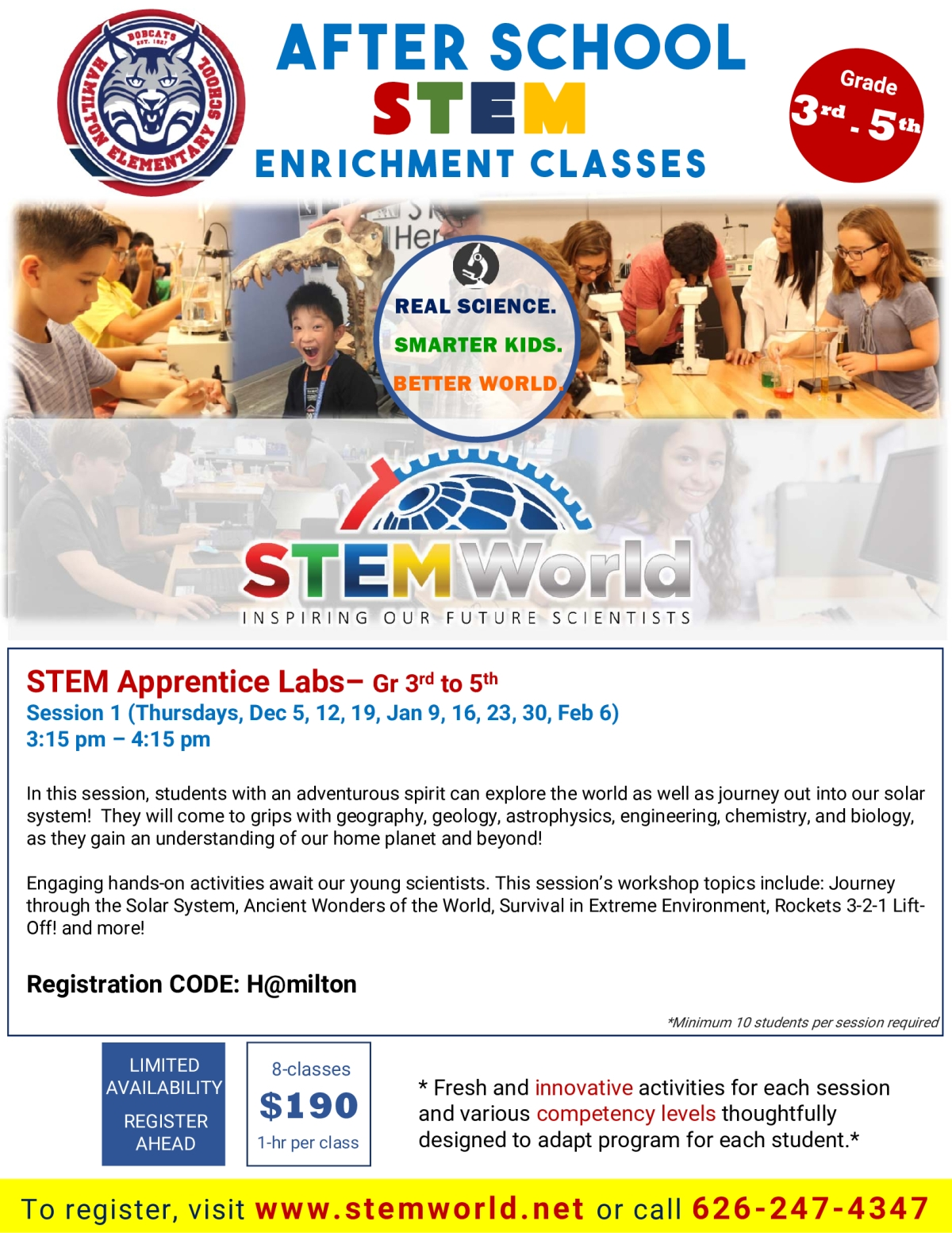 Image of a flyer titled Hamilton Elementary STEM Enrichment Class