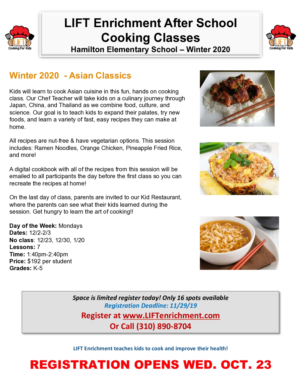 Image of a flyer titled Hamilton Enrichment Cooking Classes