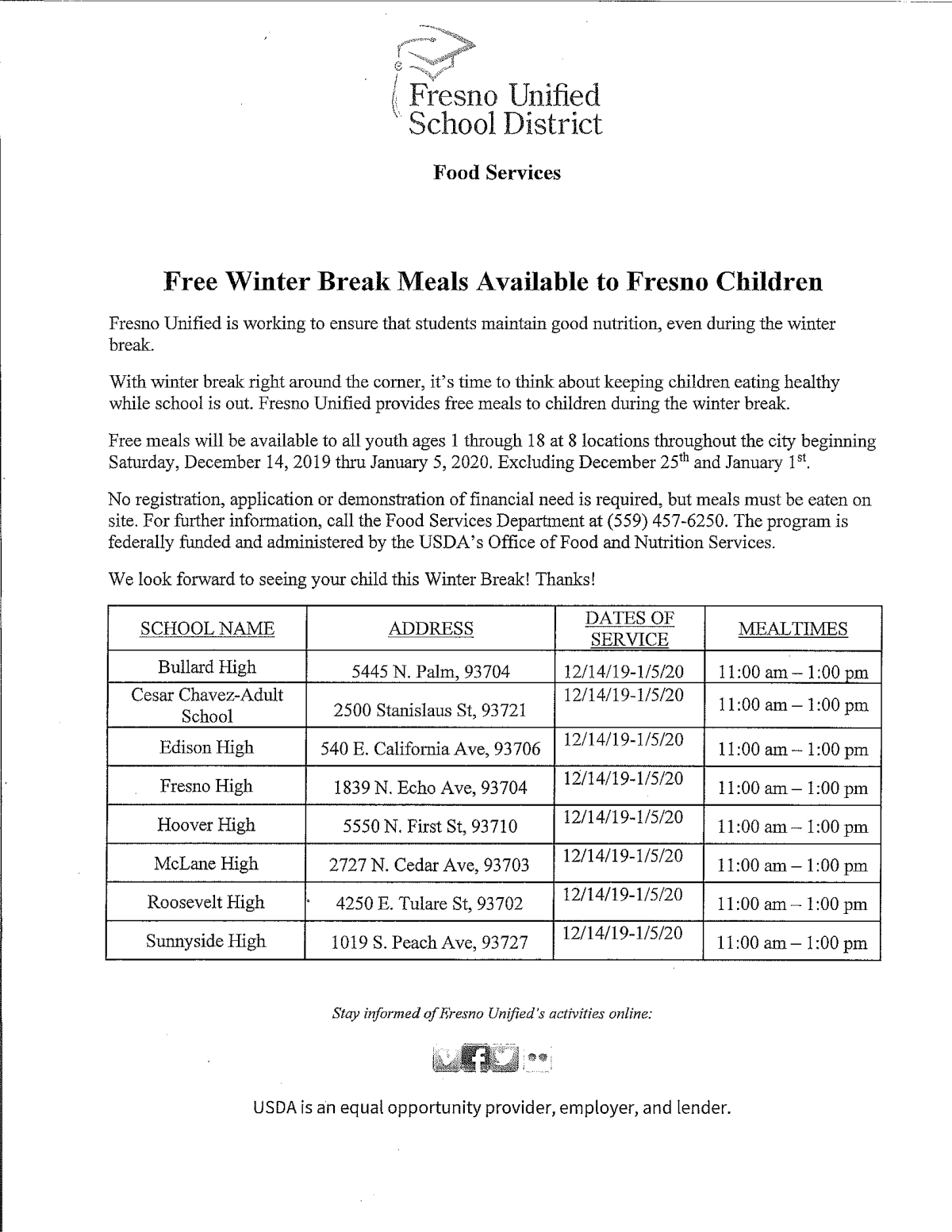 Fresno Unified Christmas Break 2020 Free Meals During Winter Break