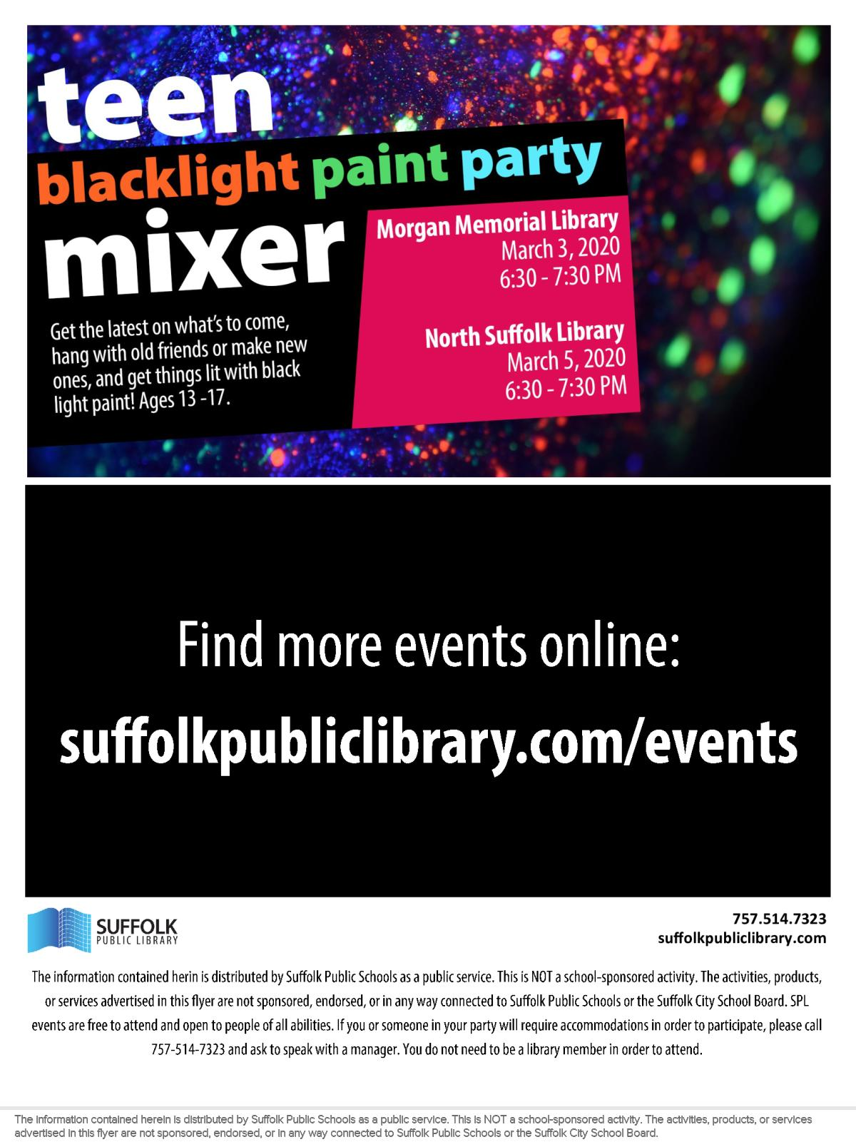 Image of a flyer titled Teen Blacklight Paint Party Mixer