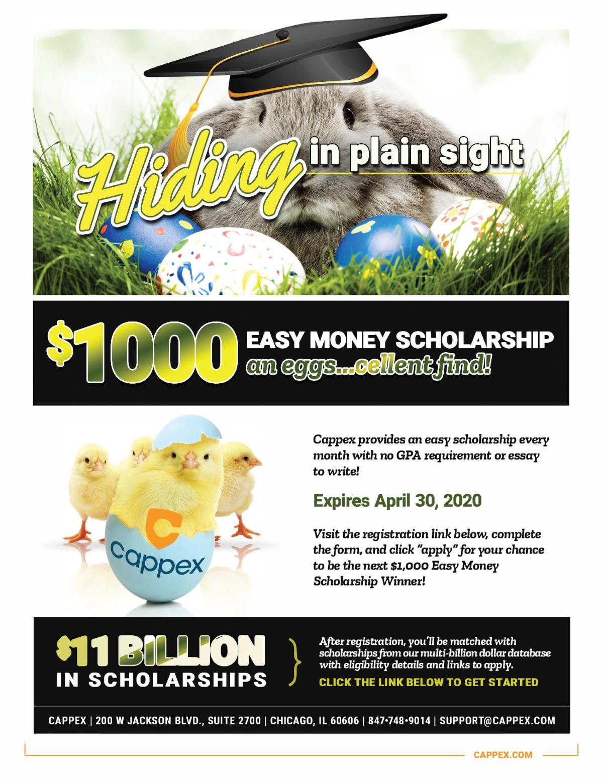 Image of a flyer titled Eggscellent $1,000 Easy Money Scholarship
