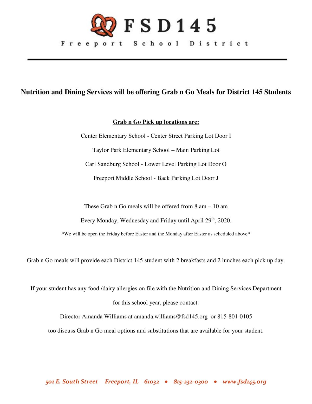 Image of a flyer titled April 2020 Grab n Go Meal Information