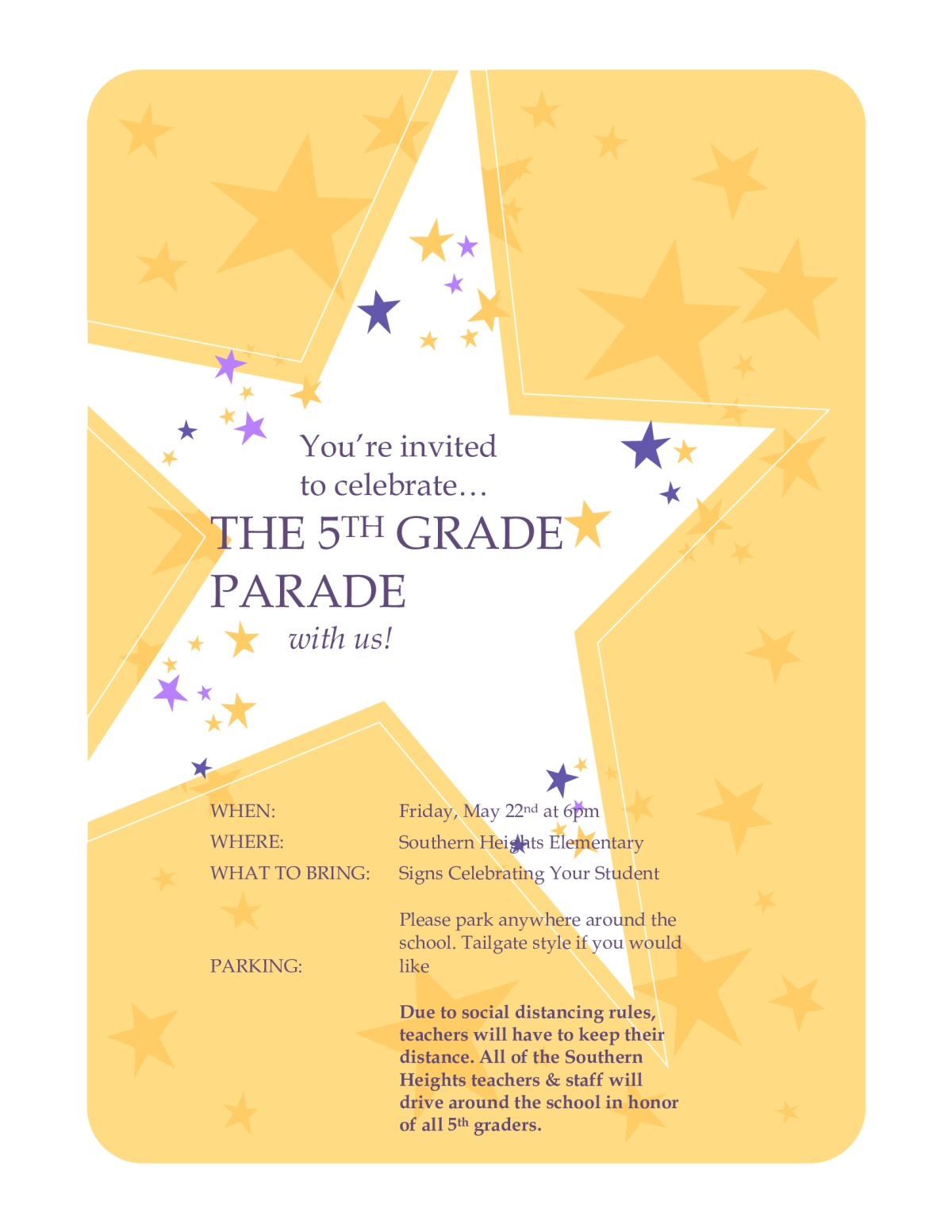 Image of a flyer titled 5th grade Parade