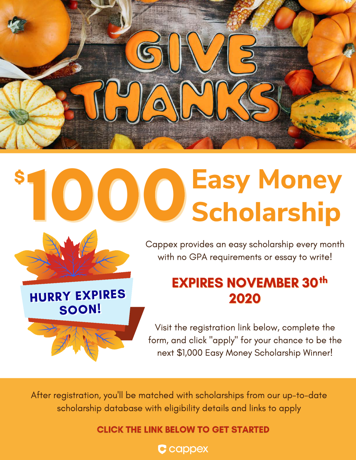 Hurry! $1,000 Easy Money Scholarship Expiring Soon!