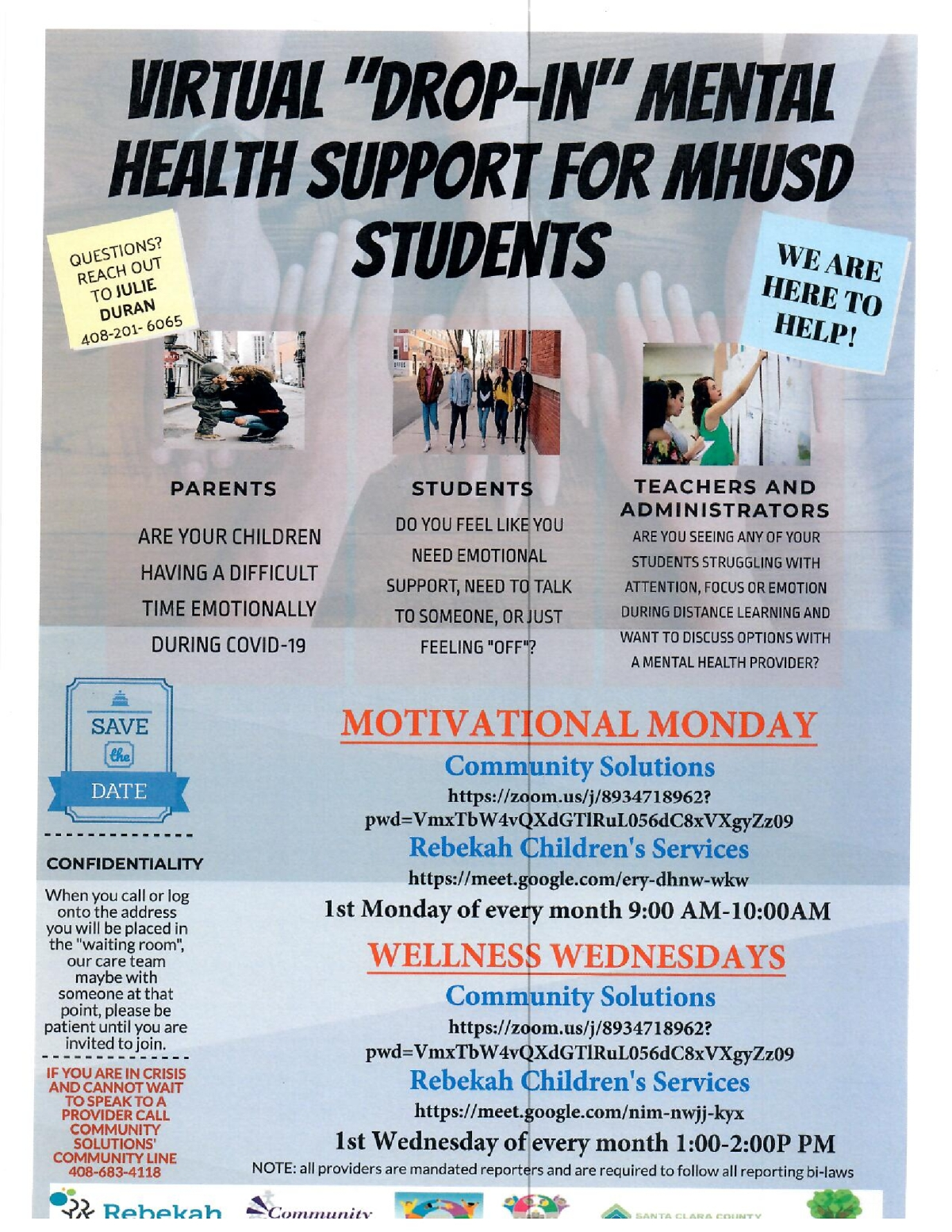 "Image of a flyer titled Virtual ""Drop-In"" Mental Health Support"