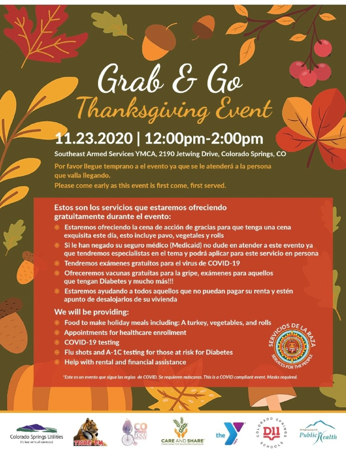 Image of a flyer titled Grab & Go Thanksgiving Event