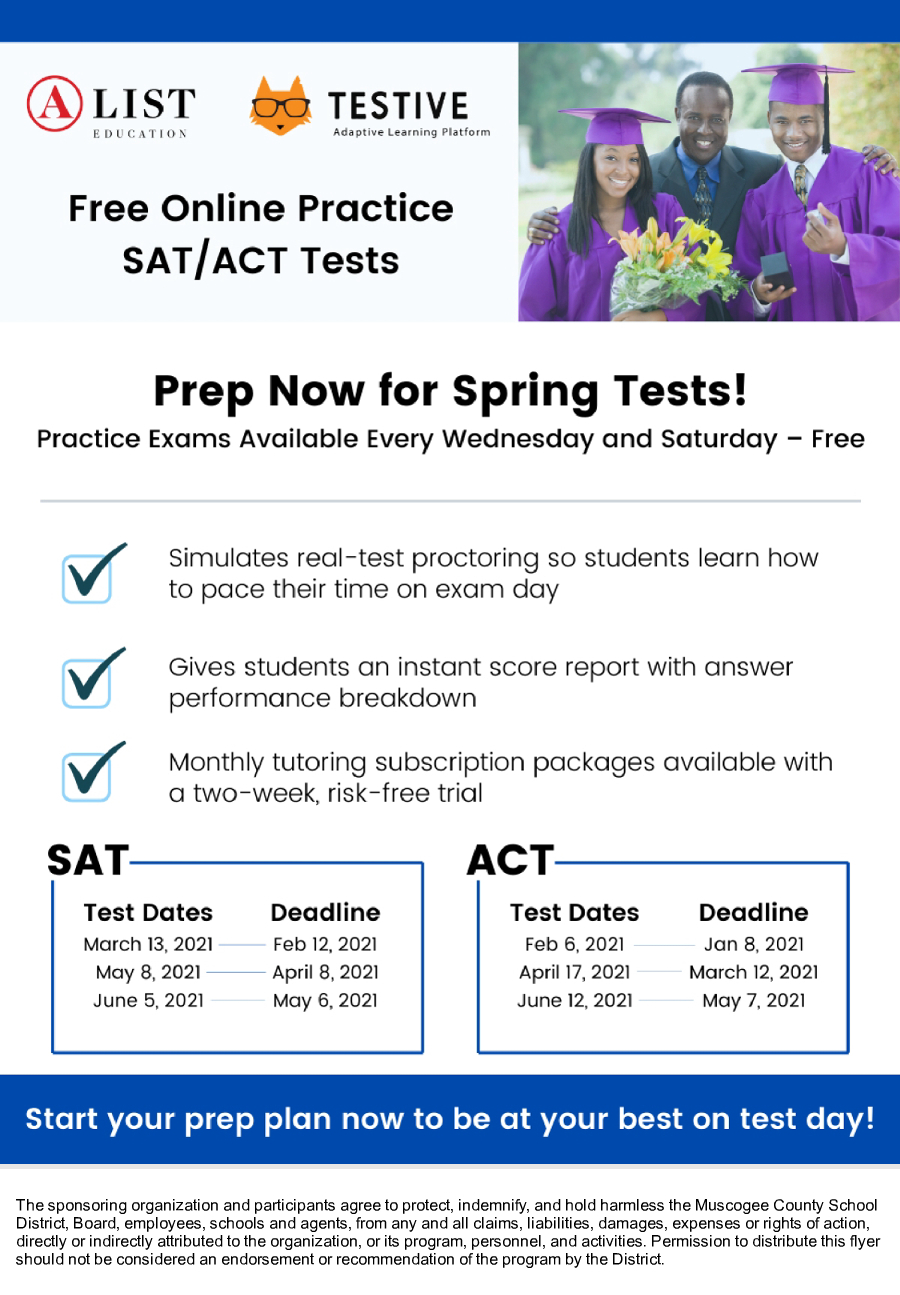 Image of a flyer titled Free Online Practice SAT and ACT Sessions
