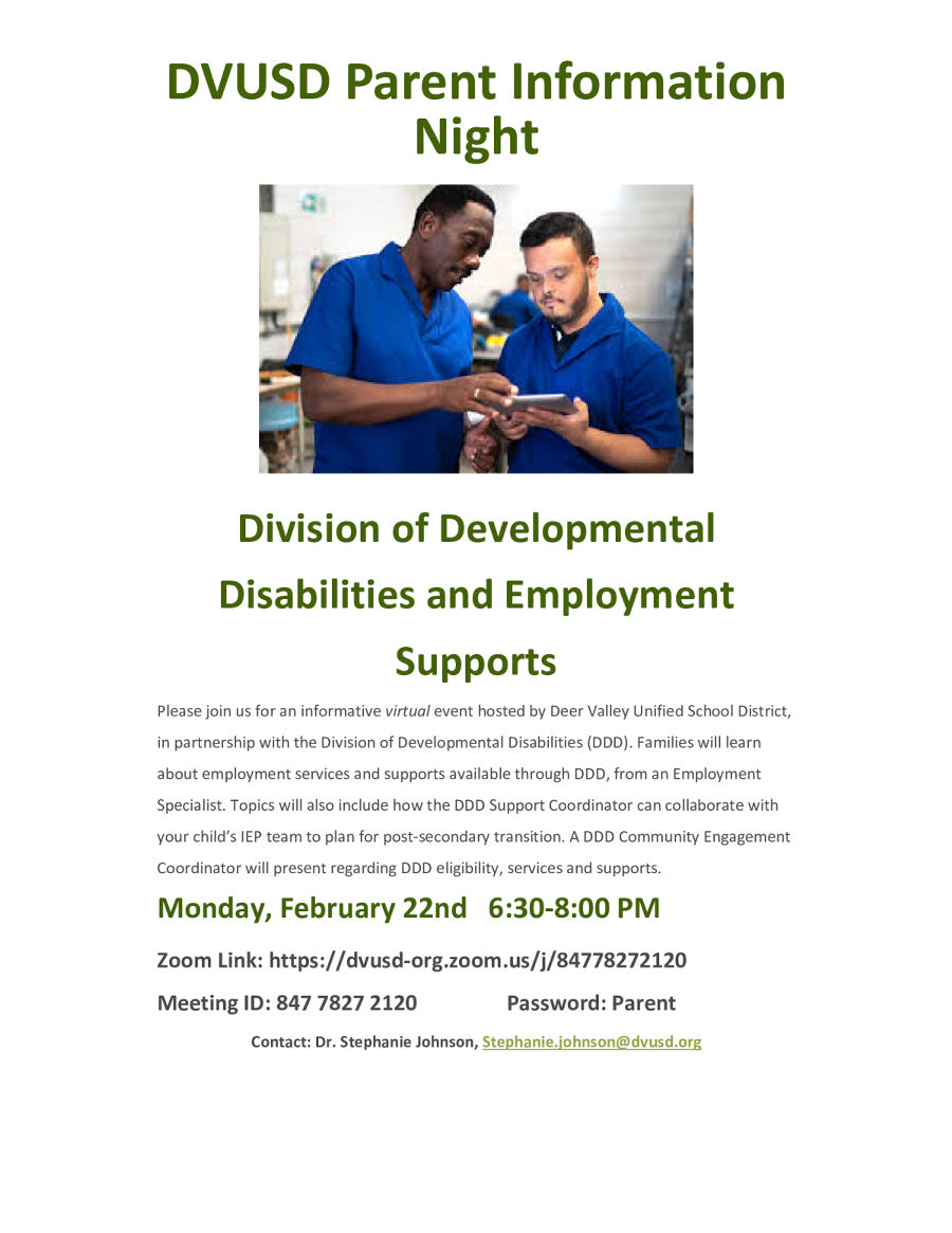 Image of a flyer titled DDD Employment Support