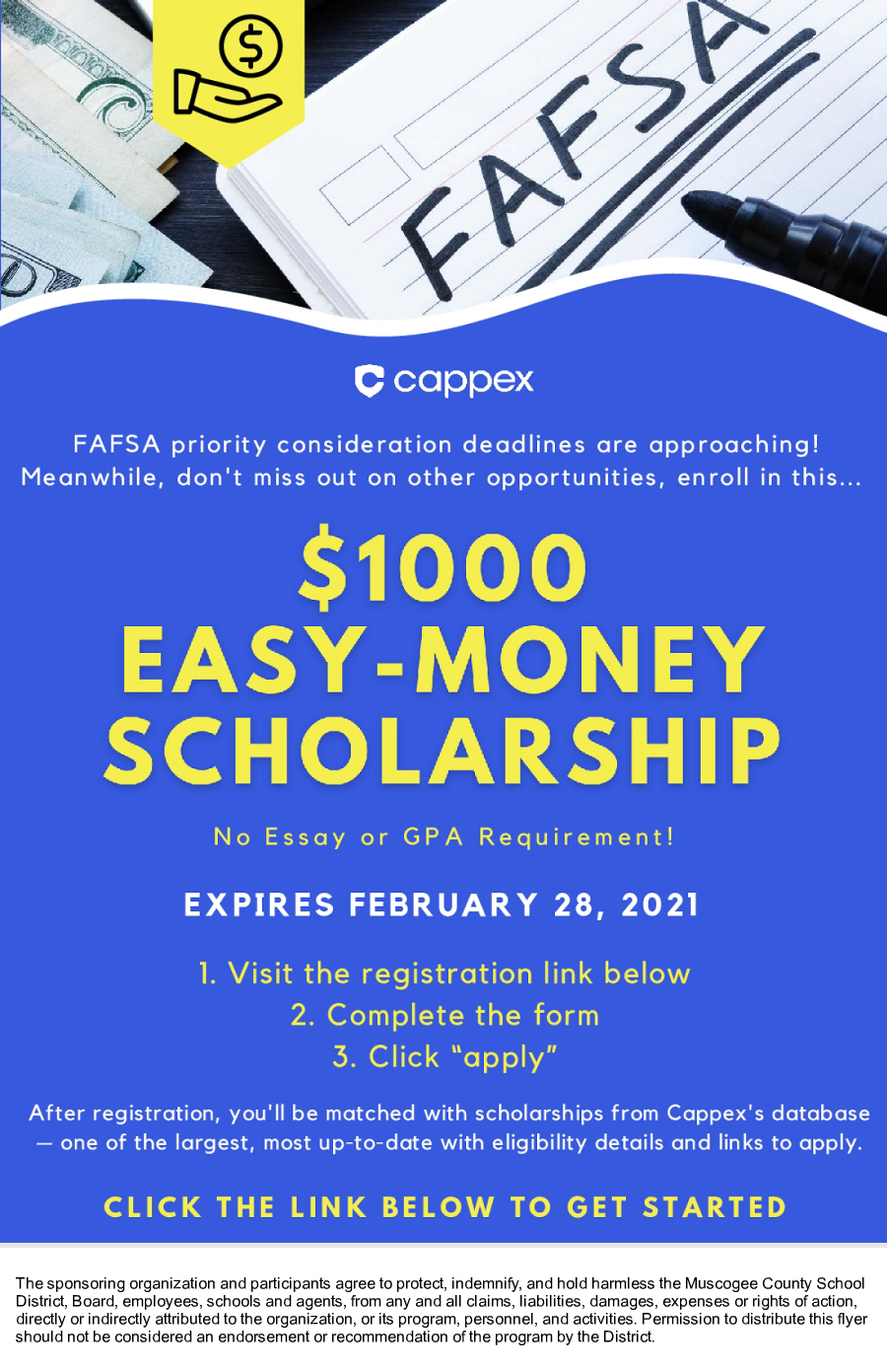 Image of a flyer titled FAFSA Reminder + $1K Scholarship - Apply Now!