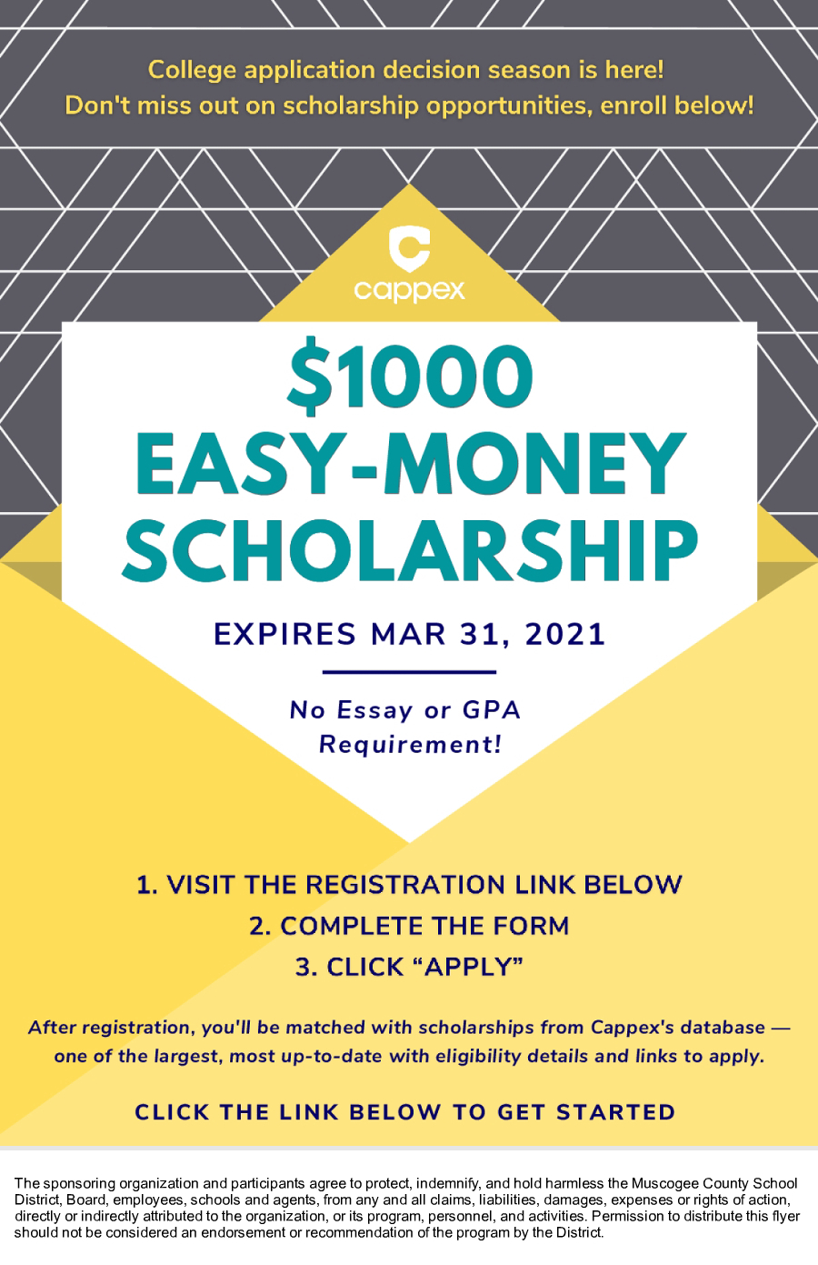 Image of a flyer titled $1,000 Scholarship Expiring Soon- Apply Now!